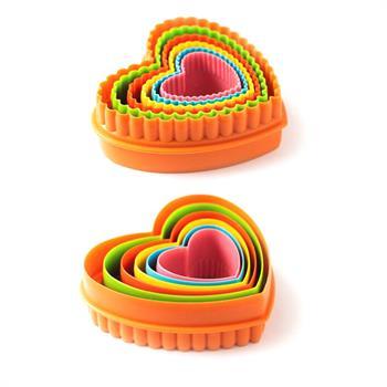 کاتر پلاستیکی قلب دوطرفه 5عددی (دالبر و ساده )